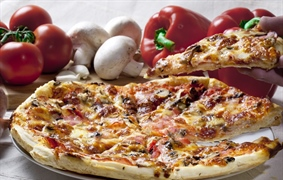 Pizza is an oven-baked, flat, disc-shaped bread typically topped with a tomato sauce, cheese and...